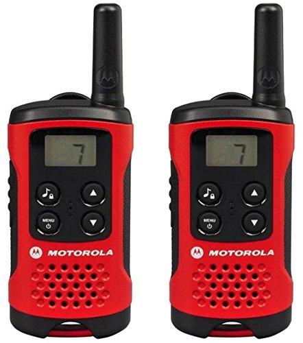 Motorola TLKR T40 - Walkie-Talkie (écran LCD, portée jusqu'à 4 km), couleur rouge et noir
